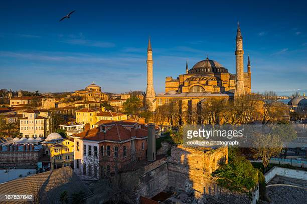 Everning light shine over Hagia Sophia
