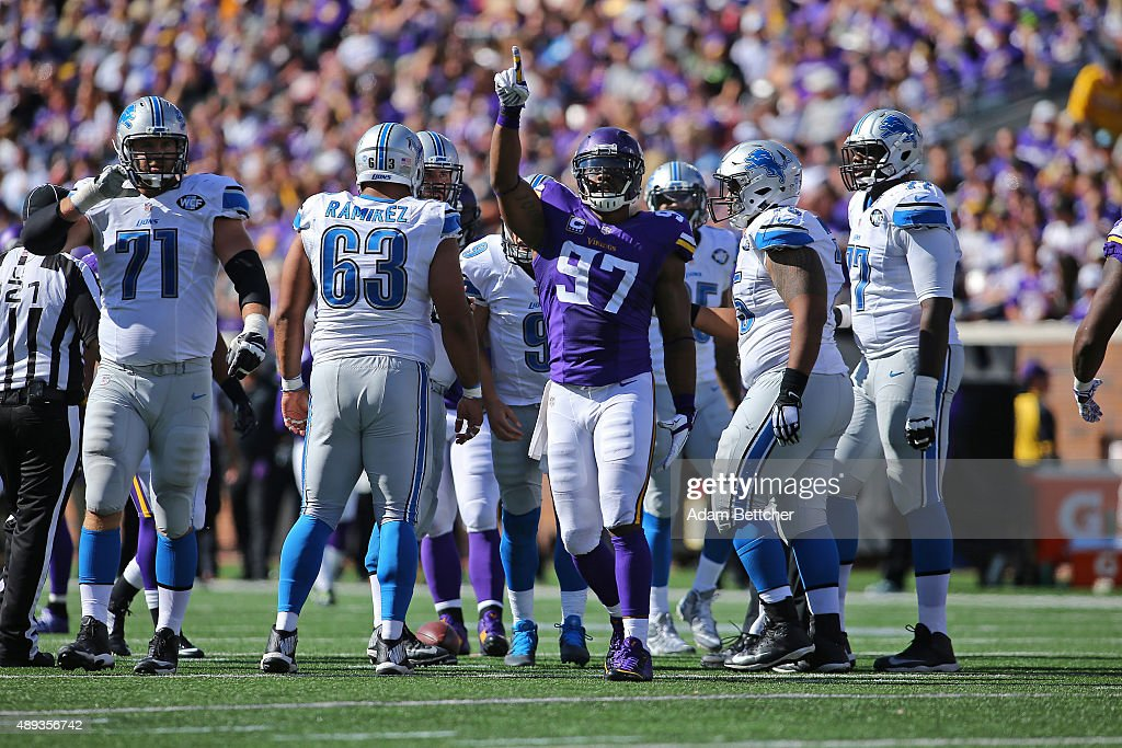Everson Griffen #97 of the Minnesota Vikings celebrates a sack in the third quarter against the Detroit Lions at TCF Bank Stadium on September 20, 2015 in Minneapolis, Minnesota.