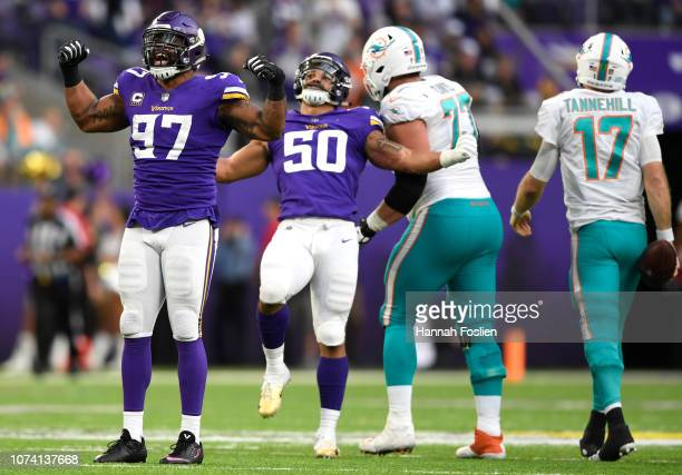 Everson Griffen of the Minnesota Vikings celebrates after sacking Ryan Tannehill of the Miami Dolphins in the fourth quarter of the game at US Bank...