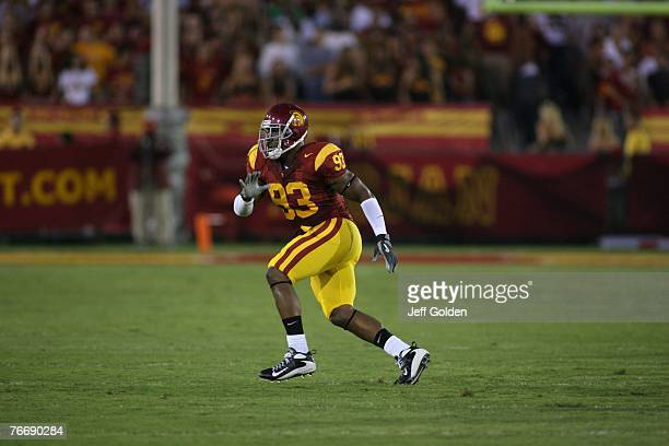 Everson Griffen of the USC Trojans eyes the play against the University of Idaho Vandals on September 1 2007 at the Los Angeles Memorial Coliseum in...