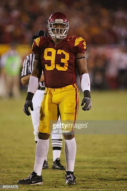 Everson Griffen of the USC Trojans looks on against the California Bears on November 8 2008 at the Los Angeles Memorial Coliseum in Los Angeles...