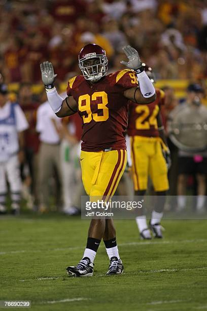 Everson Griffen of the USC Trojans looks on against the University of Idaho Vandals on September 1 2007 at the Los Angeles Memorial Coliseum in Los...