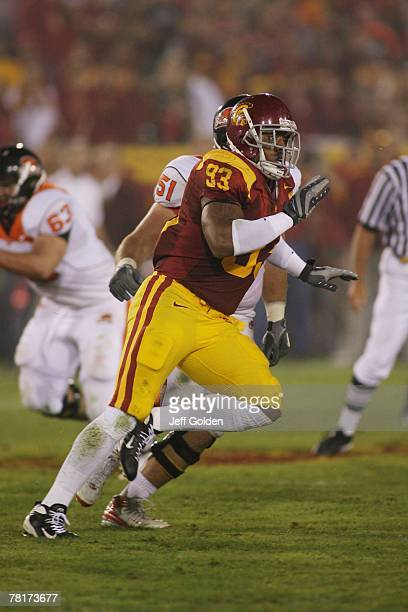 Everson Griffen of the USC Trojans pursues the play during the college football game against the Oregon State Beavers on November 3 2007 at the Los...