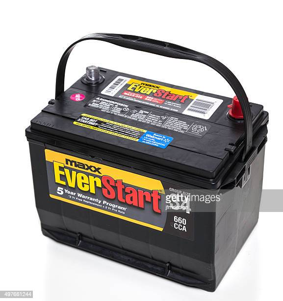 everstart maxx lead acid automotive battery - acid warning stock photos and pictures