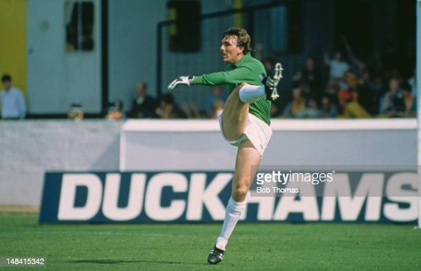 Everton and Wales goalkeeper Neville Southall defending for Everton against Watford FC in an English Division One match at Vicarage Road Watford 28th...