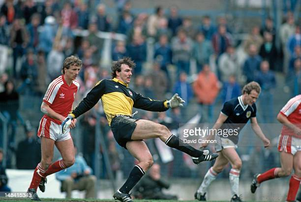 Everton and Wales goalkeeper Neville Southall in action during a home international match against Scotland at Ninian Park Cardiff 28th May 1983...