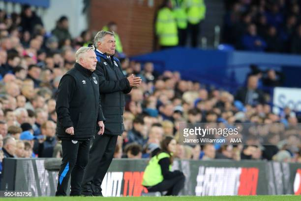 Everton assistant manager Sammy Lee and Everton manager Sam Allardyce during the Premier League match between Everton and Newcastle United at...