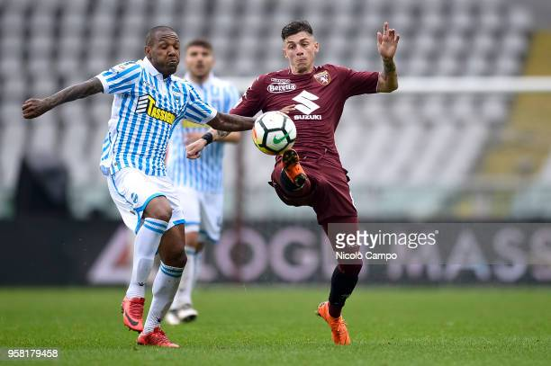 Everton Bilher of Spal competes for the ball with Daniele Baselli of Torino FC during the Serie A football match between Torino FC and Spal Torino FC...