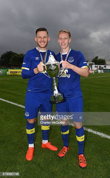 Everton captain Gethin Jones and goal scorer Harry Charsley celebrate with the trophy after the Super Cup NI under 21 final at Ballymena Showgrounds...