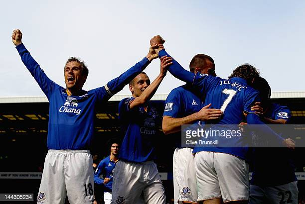 Everton captain Phil Neville celebrates to the crowd after team mate Nikica Jelavic of Everton has scored the second goal during the Barclays Premier...