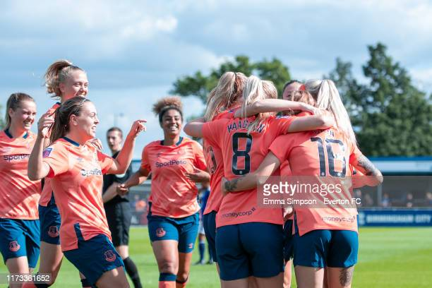 Everton celebrate goal putting them 01 up during the Barclays FA Women's Super League match between Birmingham City and Everton at Damson Park on...