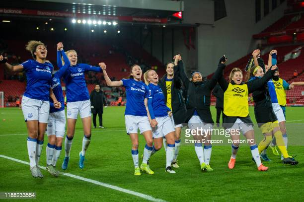 Everton celebrate win at the end of the Barclays FA Women's Super League match between Liverpool and Everton at Anfield on November 17 2019 in...