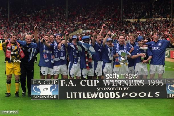 Everton celebrate with the FA Cup Neville Southall Jason Kearton Andy Hinchcliffe Paul Rideout David Unsworth Graham Stuart Daniel Amokachi Joe...