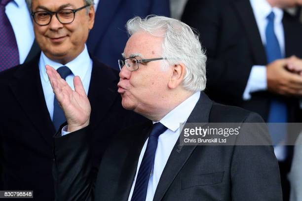 Everton chairman Bill Kenwright blows a kiss during the Premier League match between Everton and Stoke City at Goodison Park on August 12, 2017 in...