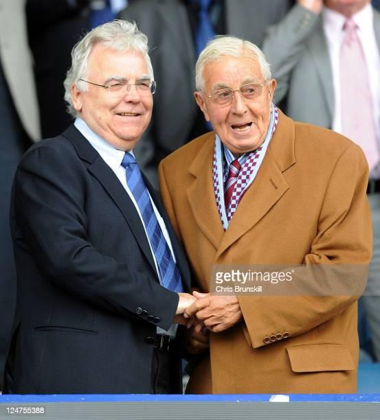 Everton chairman Bill Kenwright greets Aston Villa life president Doug Ellis during the Barclays Premier League match between Everton and Aston Villa...
