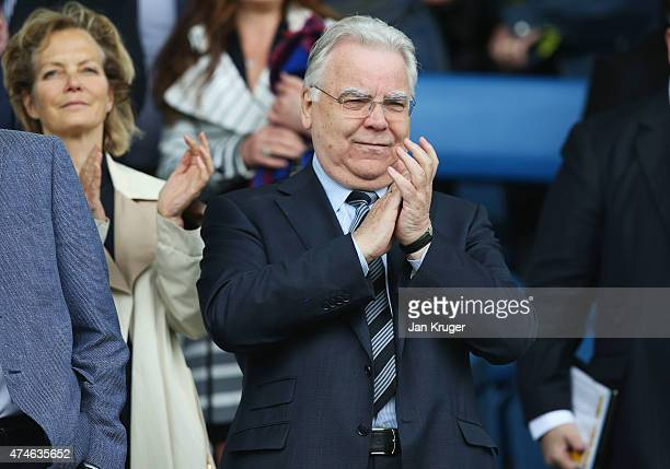 Everton Chairman Bill Kenwright looks on during the Barclays Premier League match between Everton and Tottenham Hotspur at Goodison Park on May 24,...