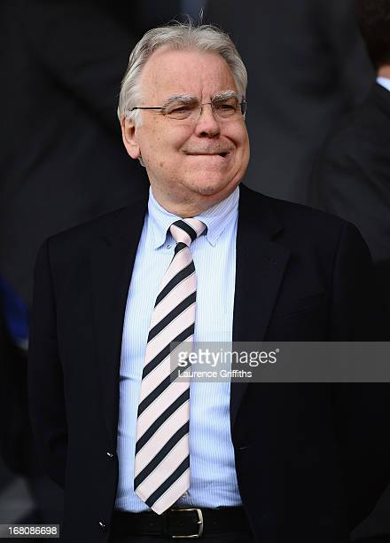 Everton Chairman Bill Kenwright looks on prior to the Barclays Premier League match between Liverpool and Everton at Anfield on May 5, 2013 in...