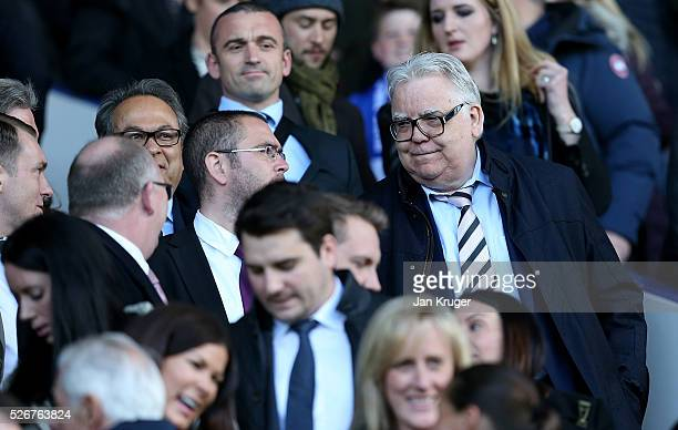 Everton chairman Bill Kenwright looks on prior to the Barclays Premier League match between Everton and AFC Bournemouth at Goodison Park on April 30...