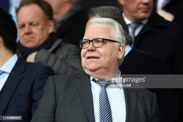 Everton Chairman, Bill Kenwright looks on prior to the Premier League match between Everton FC and Arsenal FC at Goodison Park on April 07, 2019 in...