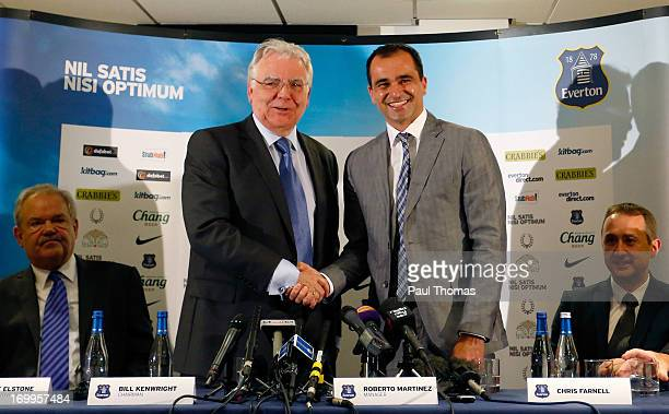 Everton chairman Bill Kenwright shakes hands with new Everton manager Roberto Martinez during the Everton FC press conference at Goodison Park on...