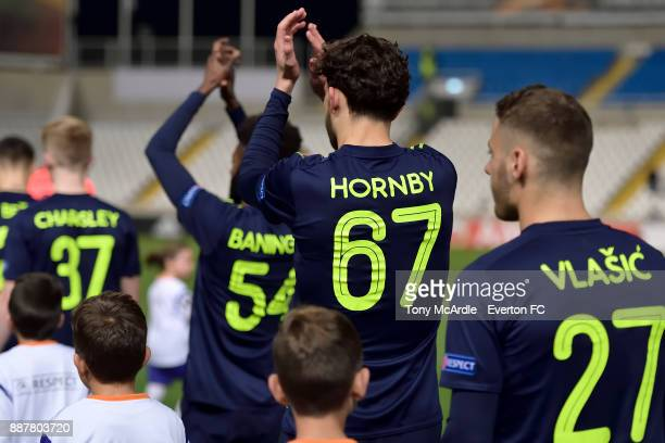 Everton debutant Fraser Hornby applauds the fans during the UEFA Europa League Group E match between Apollon Limassol and Everton at GSP Stadium on...