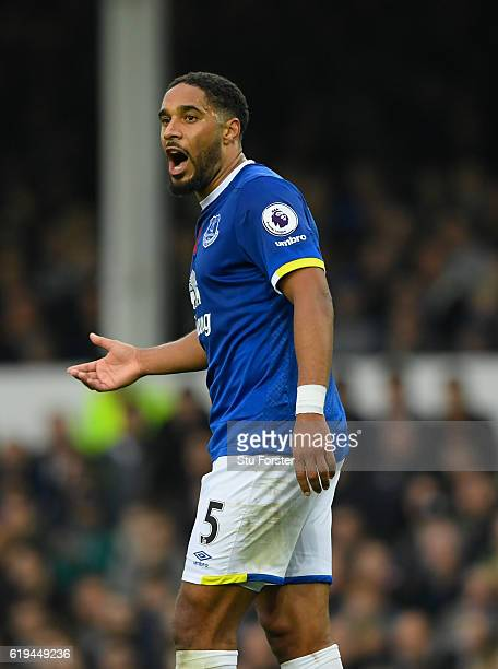 Everton defender Ashley Williams in action during the Premier League match between Everton and West Ham United at Goodison Park on October 30 2016 in...