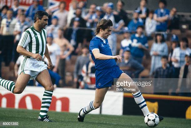 Everton defender Gary Stevens is chased by Rapid Vienna's Hans Krankl during the UEFA European Cup Winners Cup Final in Rotterdam May 15th 1985...