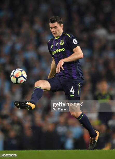 Everton defender Michael Keane in action during the Premier League match between Manchester City and Everton at Etihad Stadium on August 21 2017 in...