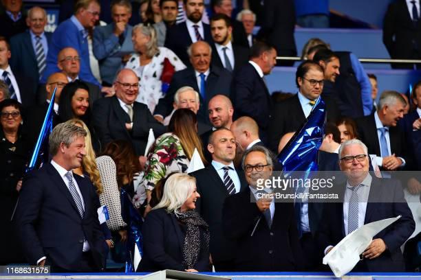 Everton Director of Football Marcel Brands and Everton CEO Denise Barrett-Baxendale , Everton majority shareholder Farhad Moshiri and Everton...