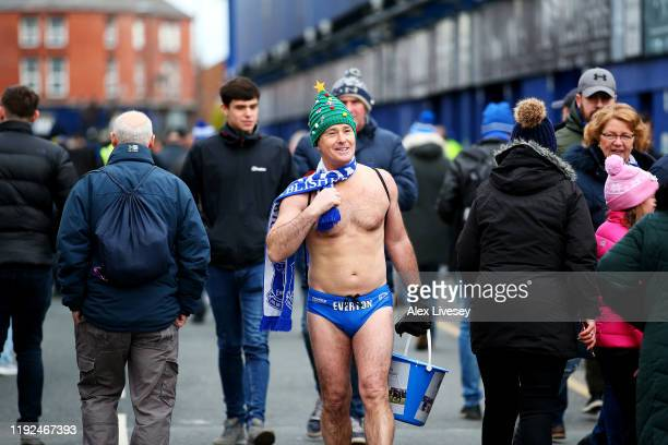 Everton fan Speedo Mick is seen arriving at the stadium prior to the Premier League match between Everton FC and Chelsea FC at Goodison Park on...