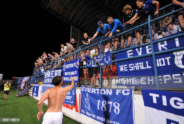 Everton fans are seen during the UEFA Europa League Qualifier between MFK Ruzomberok and Everton on August 3 2017 in Ruzomberok Slovakia