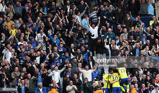 Everton Fans celebrate Gareth Barry of Everton scoring during the Premier League match between West Bromwich Albion and Everton at The Hawthorns on...