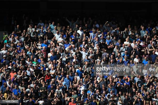 Everton fans celebrate Manchester City's goal at Brighton and Hove Albion during the Premier League match between Tottenham Hotspur and Everton FC at...