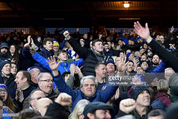 Everton fans celebrate their team's victory during the Barclays Premier League match between Crystal Palace and Everton at Selhurst Park on January...