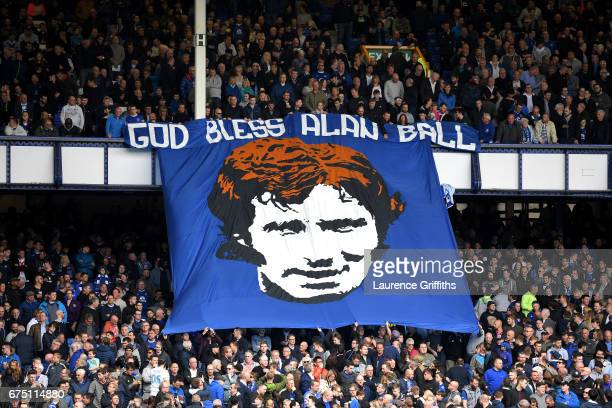Everton fans display a banner for Alan Ball during the Premier League match between Everton and Chelsea at Goodison Park on April 30 2017 in...