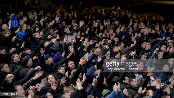 Everton fans during during the Premier League match between Liverpool and Everton at Anfield on December 10 2017 in Liverpool England