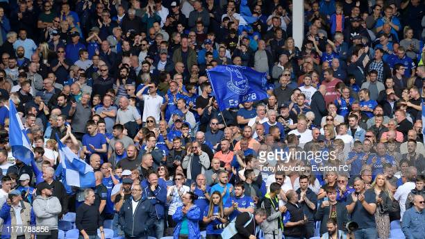 Everton fans during the Premier League match between Everton and Wolverhampton Wanderers at Goodison Park on September 1 2019 in Liverpool England