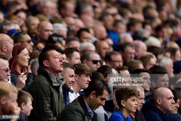Everton fans during the Premier League match between Everton and Chelsea at the Goodison Park on April 30 2017 in Liverpool England