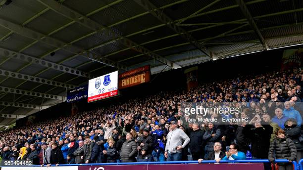 Everton fans during the Premier League match between Huddersfield Town and Everton at the John Smith's Stadium on April 28 2018 in Huddersfield...