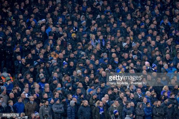 Everton fans during the Premier League match between Liverpool and Everton at Anfield on December 10 2017 in Liverpool England