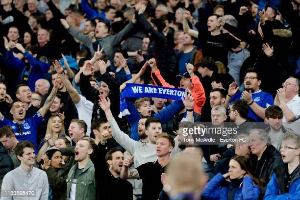 Everton fans during the Premier League match between West Ham United and Everton at London Stadium on March 30 2019 in London England