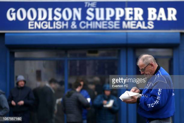 Everton fans gather outside the stadium prior to the Premier League match between Everton FC and Crystal Palace at Goodison Park on October 21, 2018...