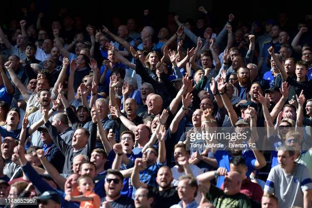Everton fans in good spirits during the Premier League match between Tottenham Hotspur and Everton Fc at the Tottenham Hotspur Stadium on May 12 2019...