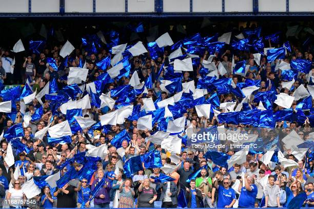 Everton fans in the Gwladys Street Stand before the Premier League match between Everton and Watford at Goodison Park on August 17 2019 in Liverpool...