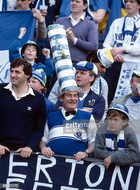 Everton fans in the Stadium prior to the UEFA European Cup Winners Cup Final between Everton and Rapid Vienna in Rotterdam May 15th 1985 Everton won...
