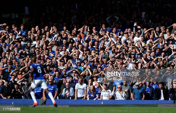 Everton fans react during the Premier League match between Everton FC and Wolverhampton Wanderers at Goodison Park on September 01 2019 in Liverpool...