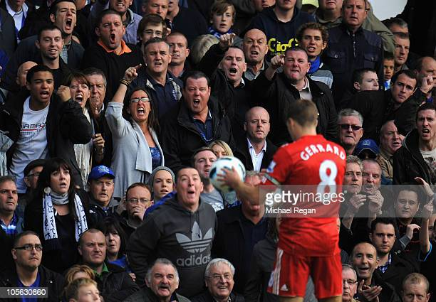 Everton fans shout at Liverpool player Steven Gerrard during the Barclays Premier League match between Everton and Liverpool at Goodison Park on...