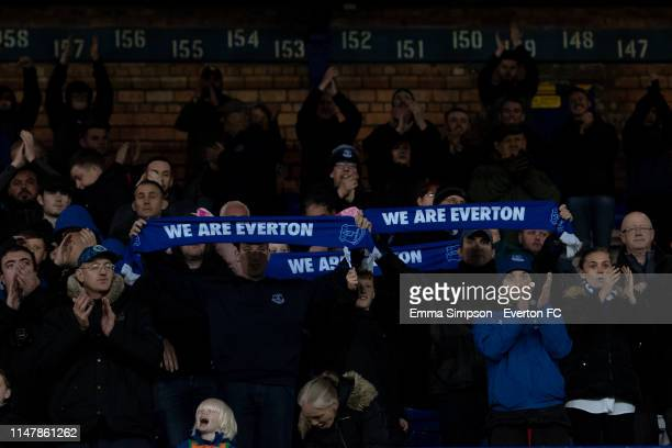 Everton fans support the U23's at their Premier League Cup win over Newcastle United at Goodison Park on May 08 2019 in Liverpool England