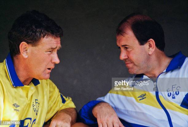 Everton FC coach Colin Harvey with the team's manager Howard Kendall circa 1985