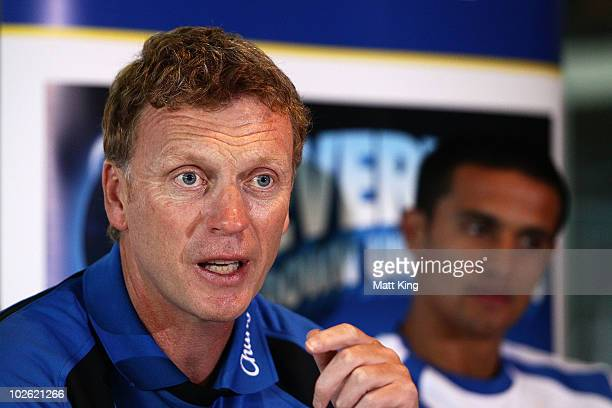 Everton FC manager David Moyes talks to the media as Tim Cahill looks on during an Everton FC press conference at ANZ Stadium on July 5 2010 in...